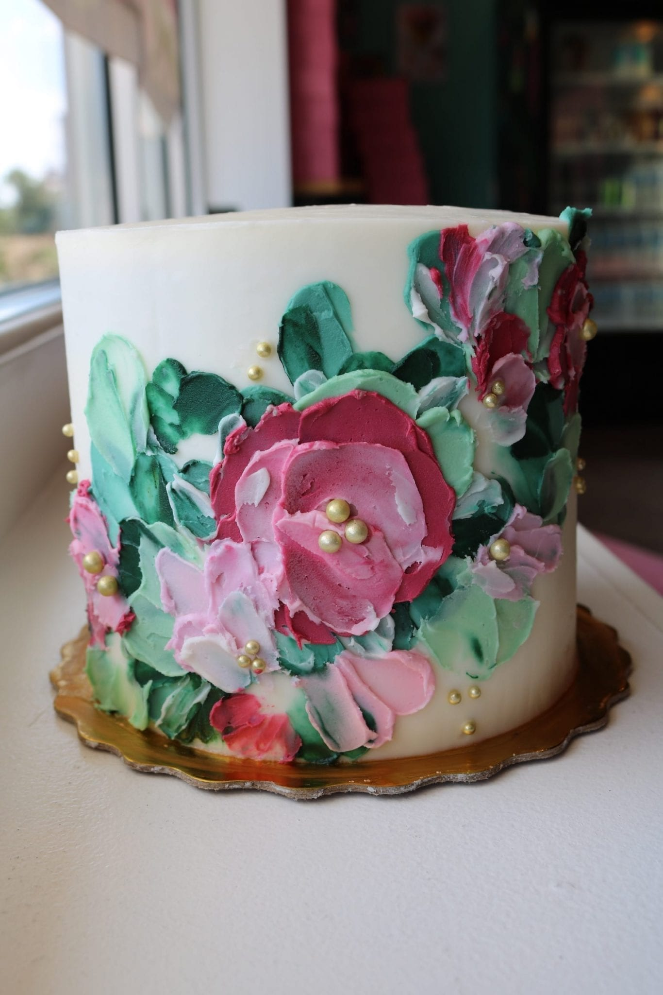 Pink and Green Floral Buttercream In Store Cake | 3 Sweet Girls Cakery