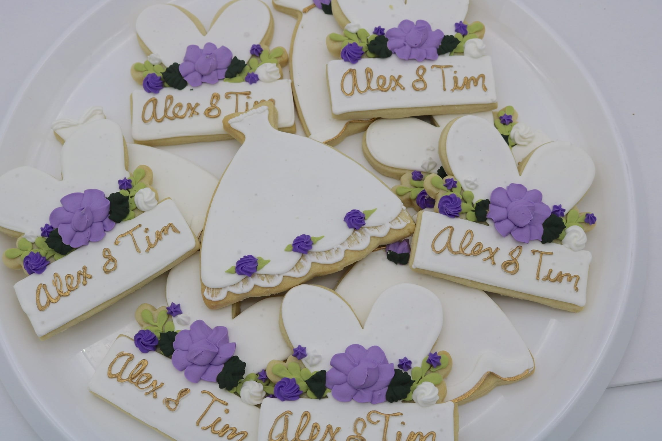 Purple, White and Gold Wedding Cookies | 3 Sweet Girls Cakery