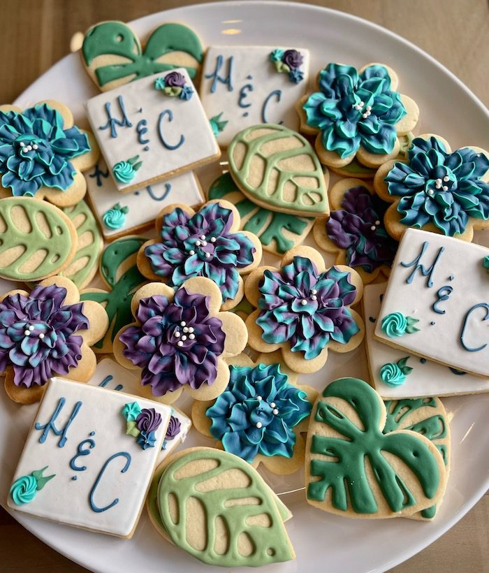 Purple and Blue Floral Monogram Shower Cookies | 3 Sweet Girls Cakery