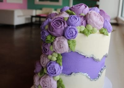 Purple and White Fault Line Cake with Beautiful Flowers and Silver Accents   3 Sweet Girls Cakery