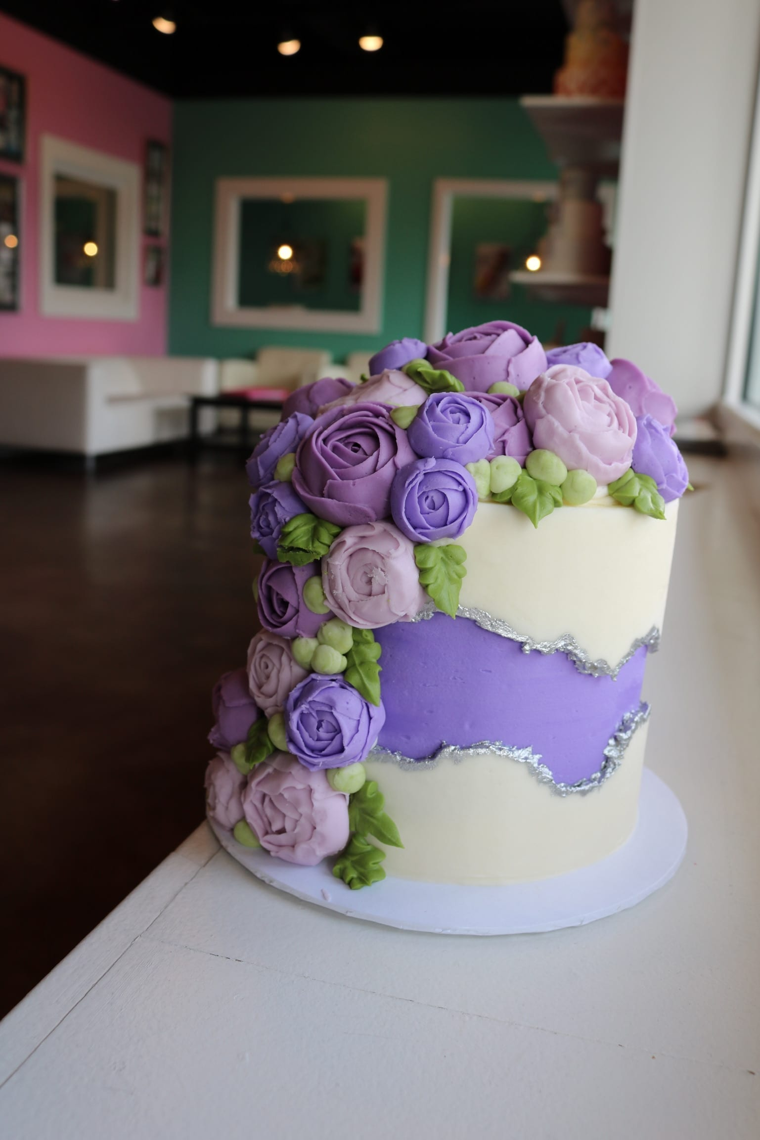 Purple and White Fault Line Cake with Beautiful Flowers and Silver Accents | 3 Sweet Girls Cakery