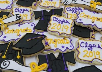 Purple and Yellow Graduation Cookies | 3 Sweet Girls Cakery