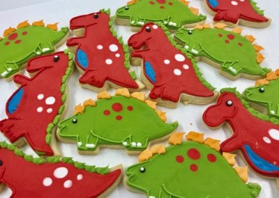Red and Green Dinosaur Cookies | 3 Sweet Girls Cakery
