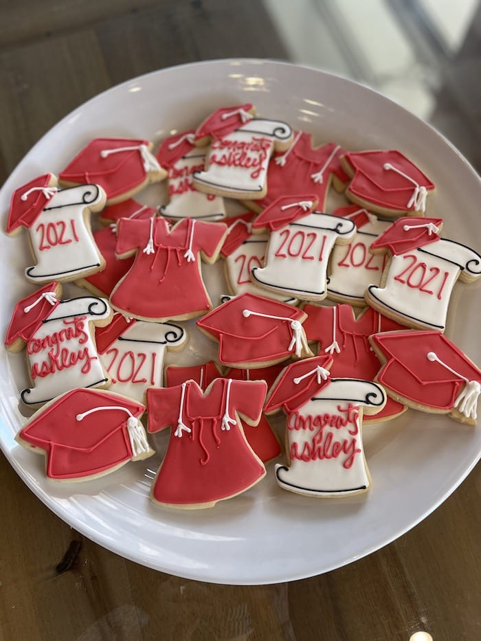 Red and WHite Graduation Cookies | 3 Sweet Girls Cakery