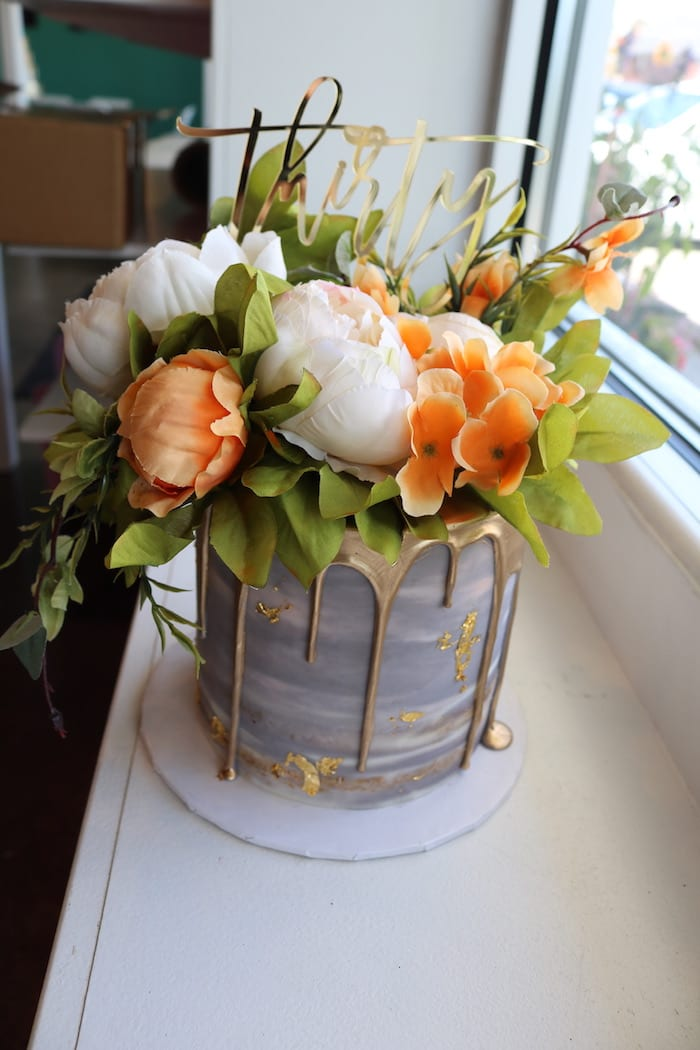 Gray Cake with Gold Drip and Fresh Flowers | 3 Sweet Girls Cakery