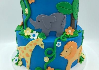 Safari Animal 2 Tier Cake | 3 Sweet Girls Cakery