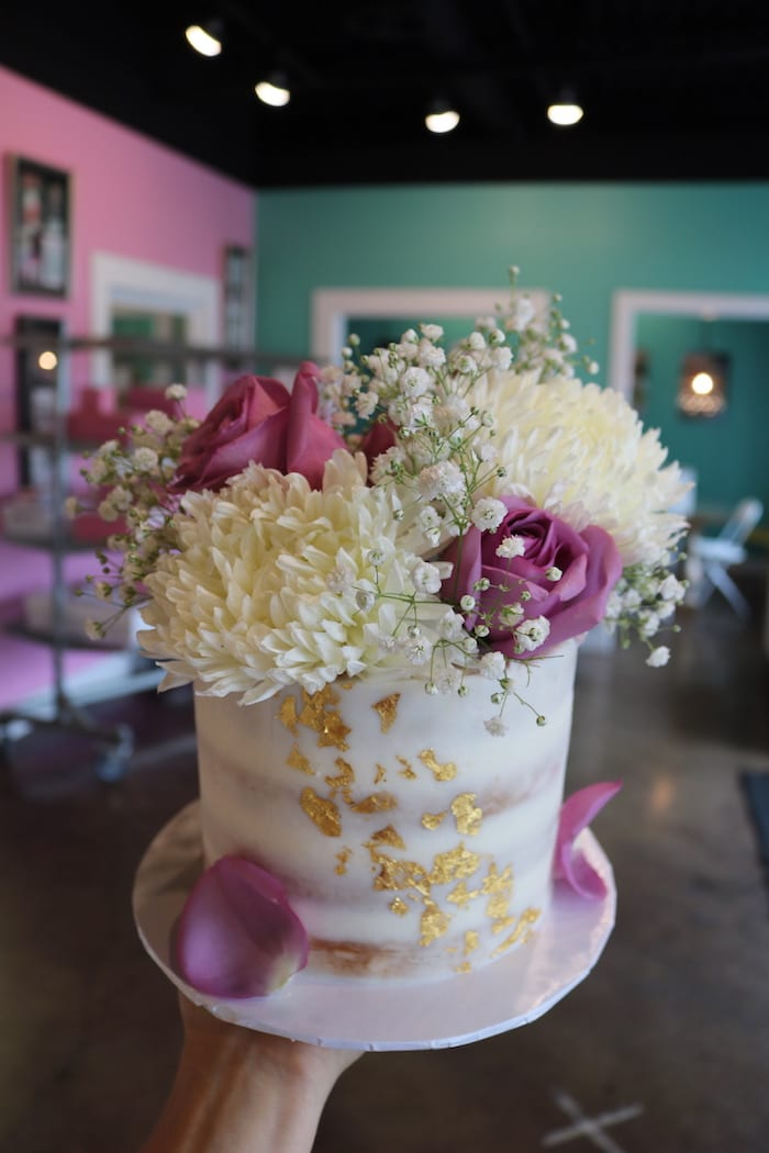 Semi Naked Cake with Gold Foil and Fresh Flowers | 3 Sweet Girls Cakery