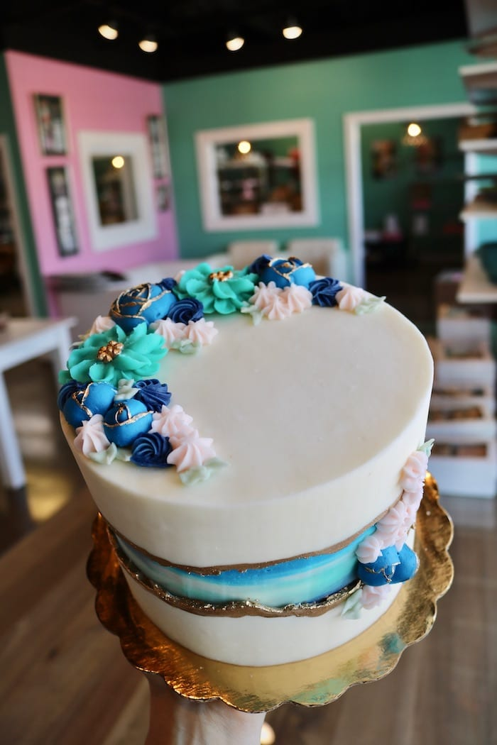 Shades of Blue Floral Faultline Cake   3 Sweet Girls Cakery
