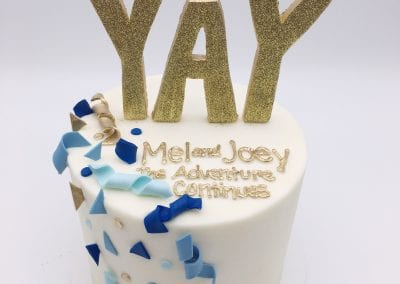 Shades of Blue and Gold YAY Cake | 3 Sweet Girls Cakery