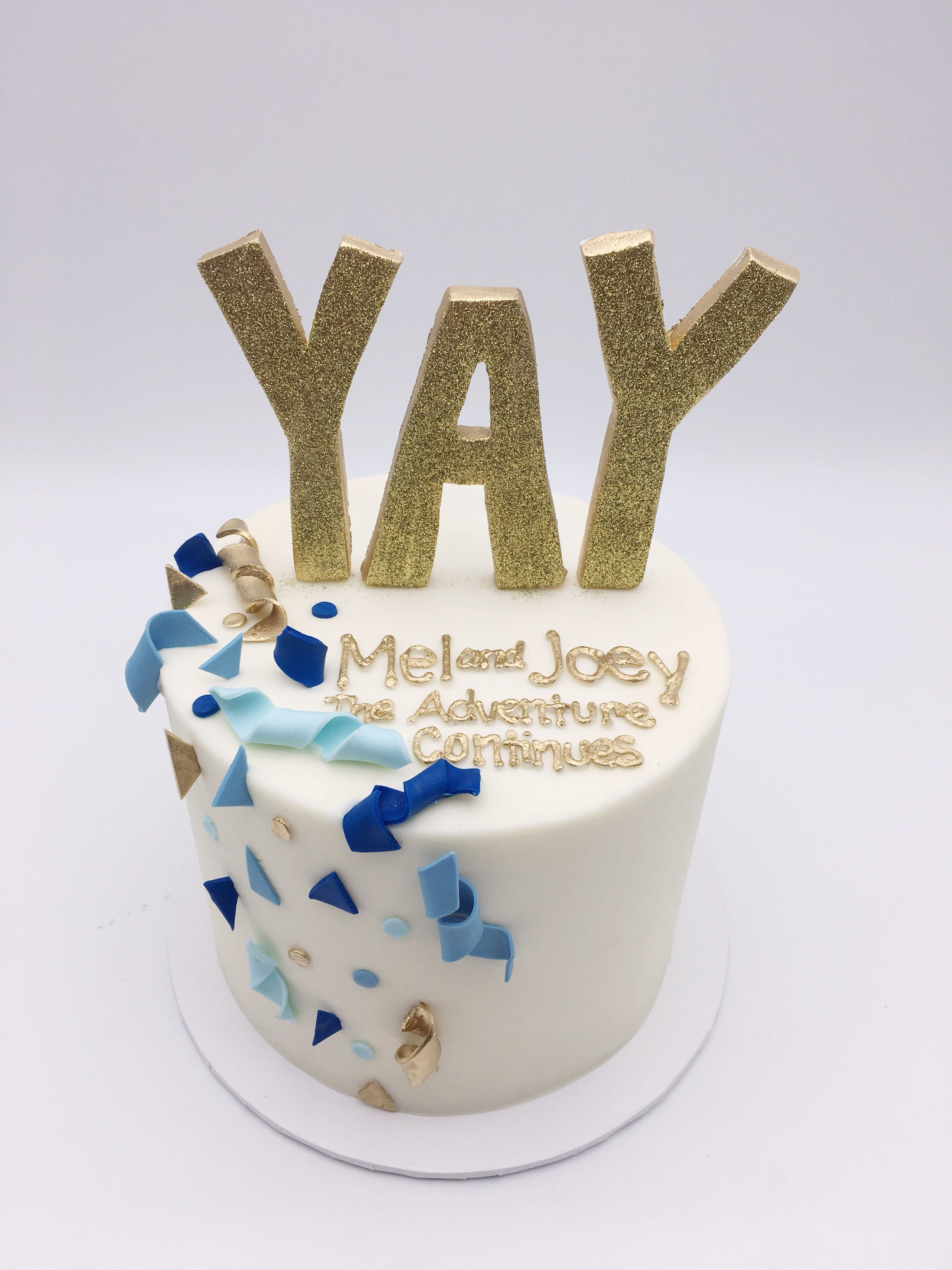 Shades of Blue and Gold YAY Cake | 3 Sweet Girls Cakery