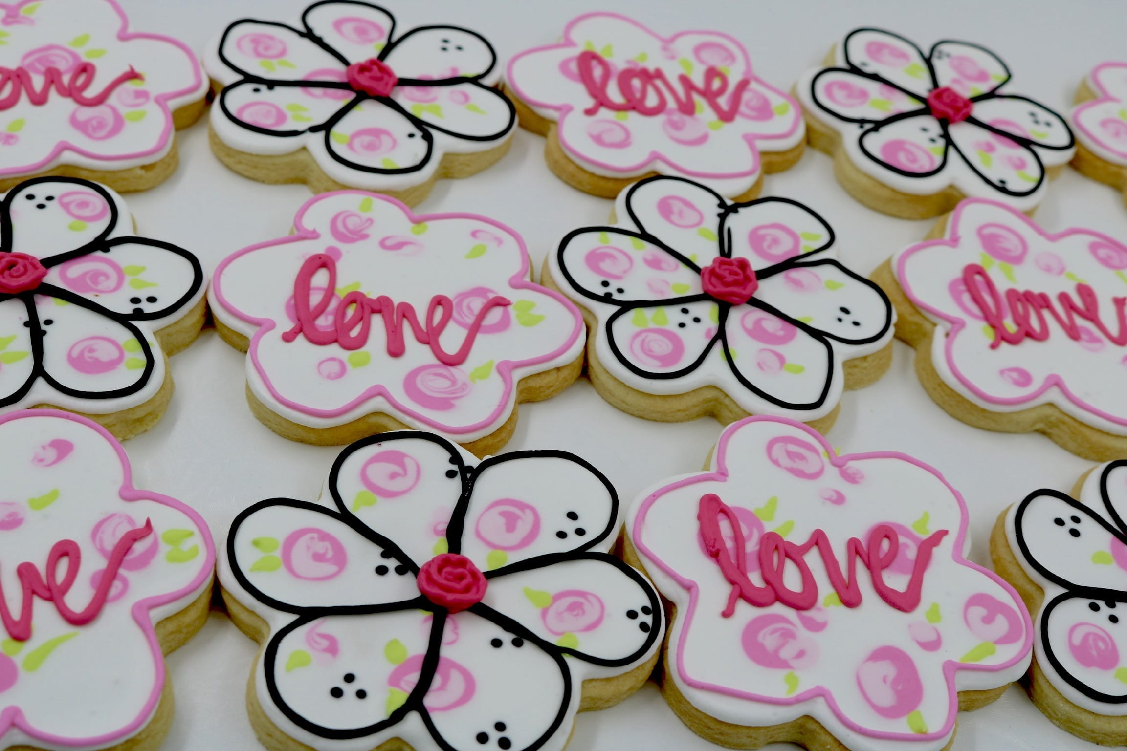 Spring Flower Cookies Pink, White and Black | 3 Sweet Girls Cakery