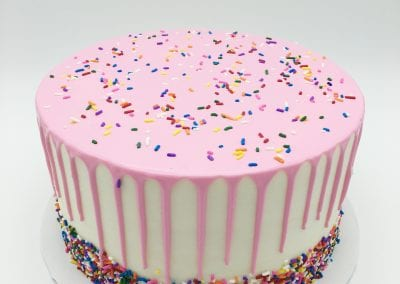 Sprinkle Cake with Pink Drip | 3 Sweet Girls Cakery