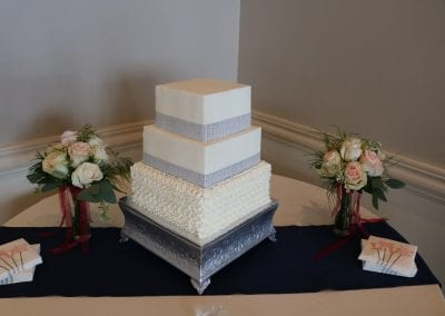 Square Wedding Cake with Bling at Drees Pavilion | 3 Sweet Girls Cakery