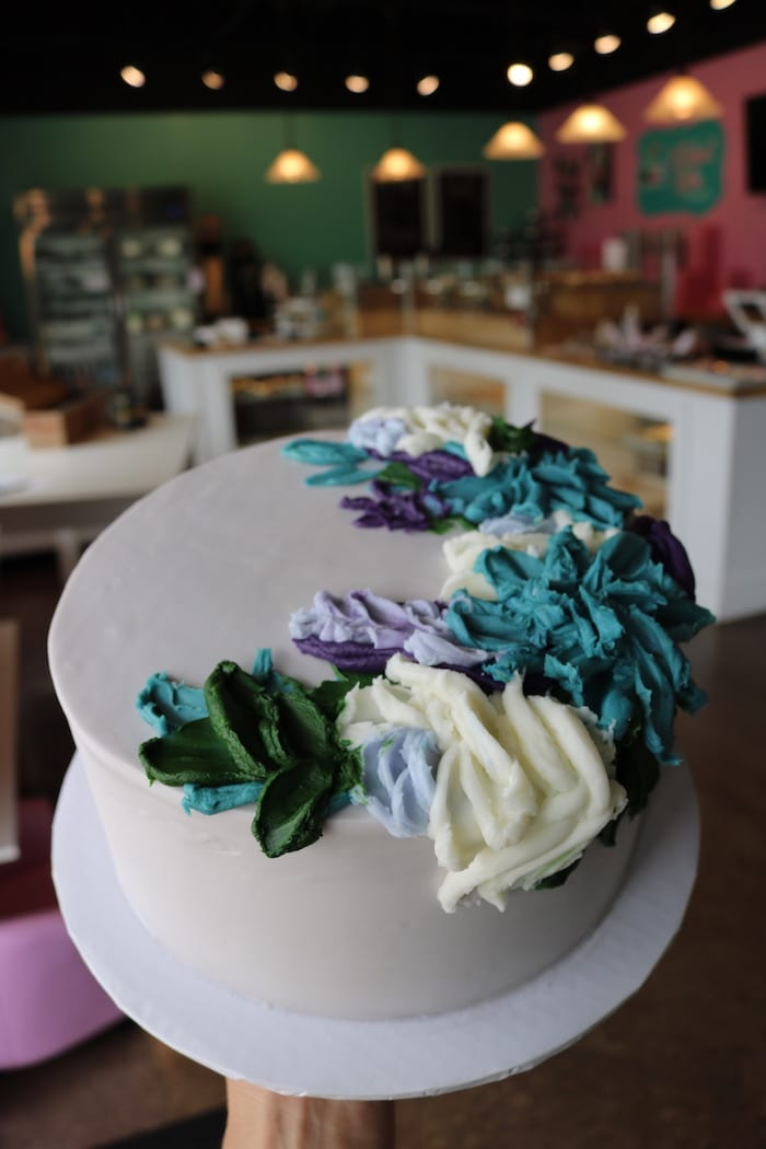 Teal and Purple Floral Cake | 3 Sweet Girls cakery