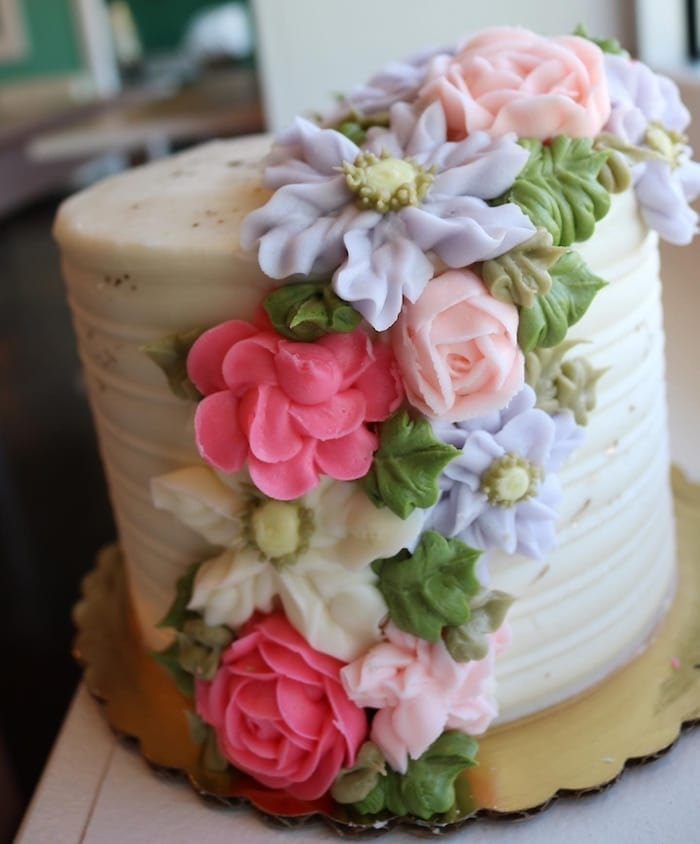 Textured Butter Cream Cake with Cascading Flowers and Gold | 3 Sweet Girls Cakery