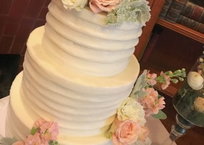 Textured Buttercream 3 Tier Wedding Cake with Peach and Coral Flowers | 3 Sweet Girls Cakery