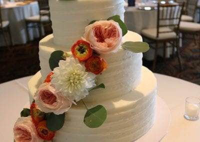 Textured Buttercream Wedding Cake with Fresh Flowers at Drees Pavillion | 3 Sweet Girls Cakery