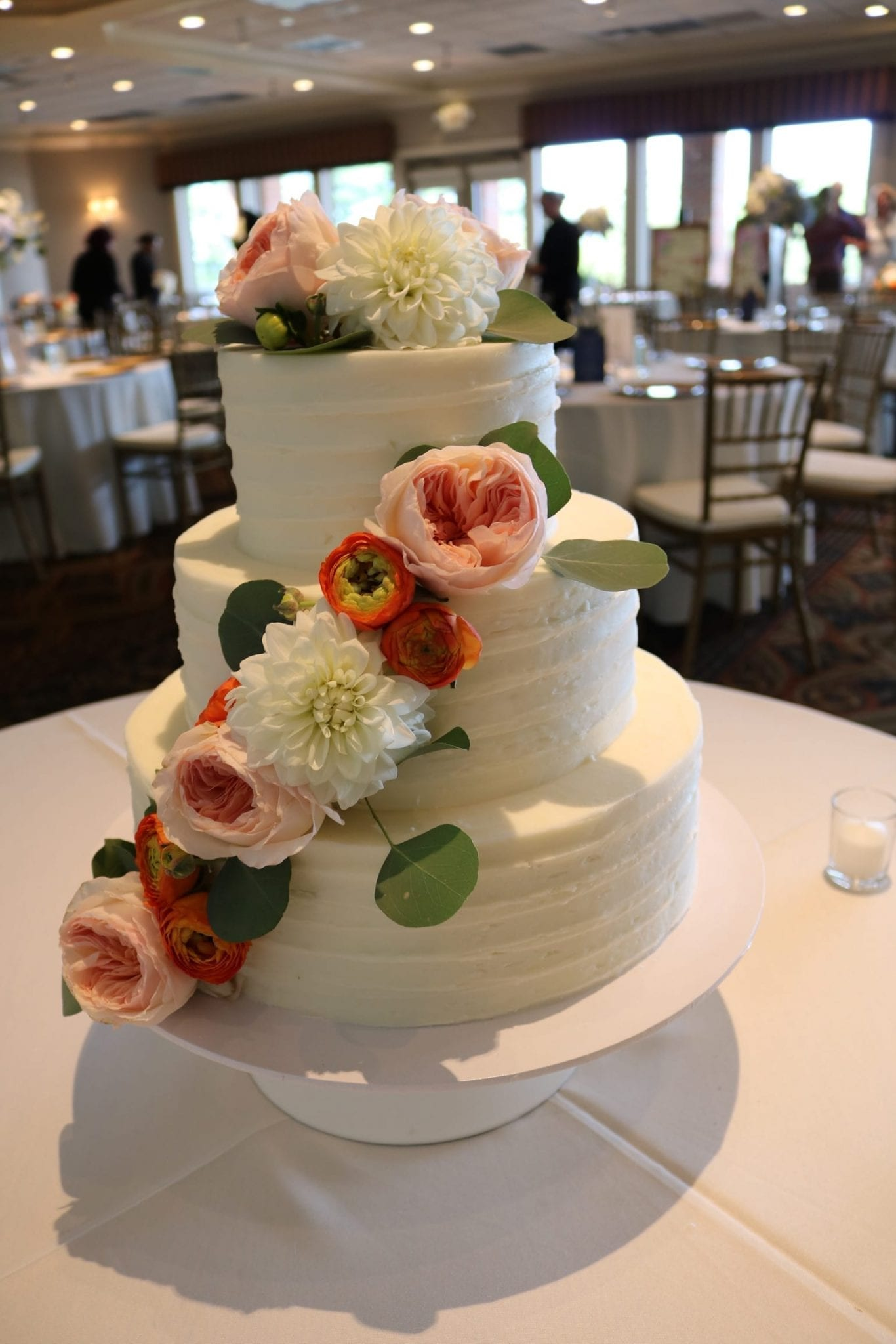 Textured Buttercream Wedding Cake with Fresh Flowers at Drees Pavillion | 3 Sweet Girls Cakery