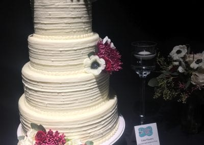 Textured Buttercream Wedding Cake with Fuschia Flowers | 3 Sweet Girls Cakery