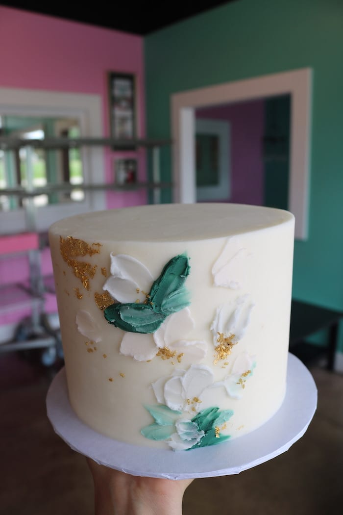 Textured Floral White, Gold and Green Cake | 3 Sweet Girls Cakery