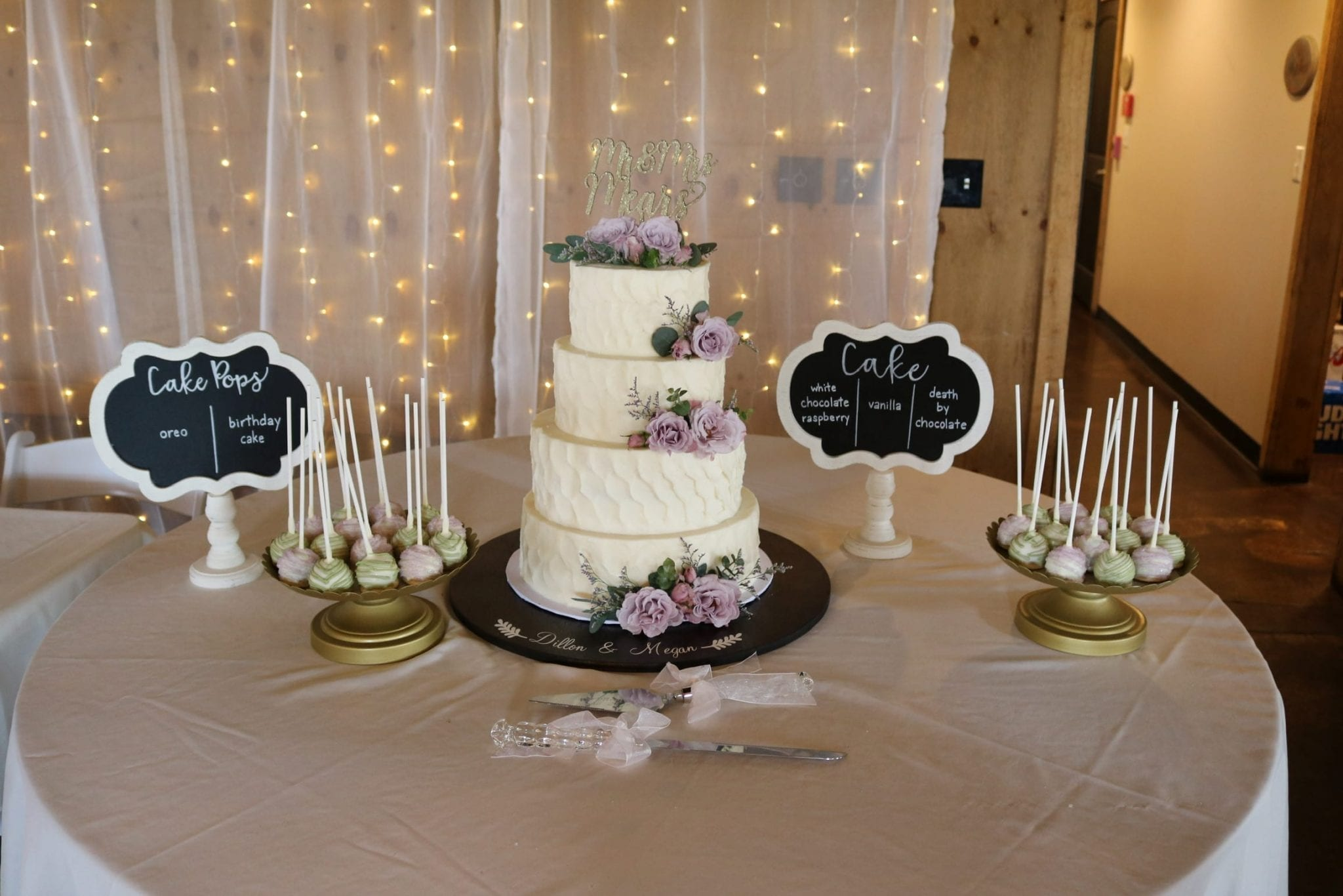 Textured Wedding Cake and Cake Pops with Lavender Flowers | 3 Sweet Girls Cakery