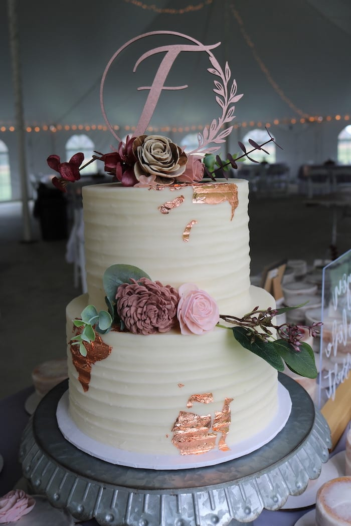 Textured Wedding Cake with Rose Gold | 3 Sweet Girls Cakery