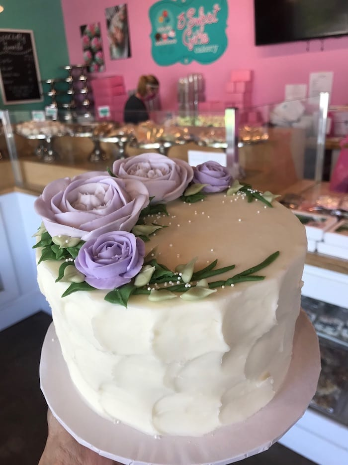 Textured Cake with Lavender Roses | 3 Sweet Girls Cakery