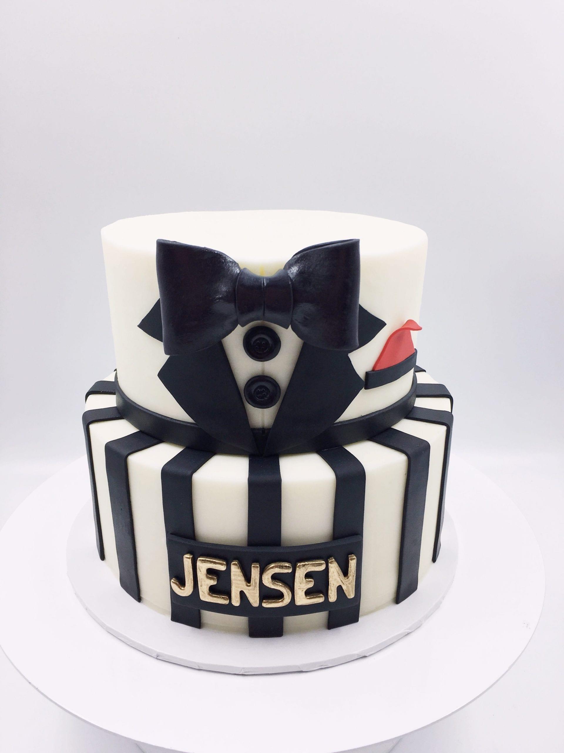 Tuxedo 2 Tier Cake | 3 Sweet Girls Cakery