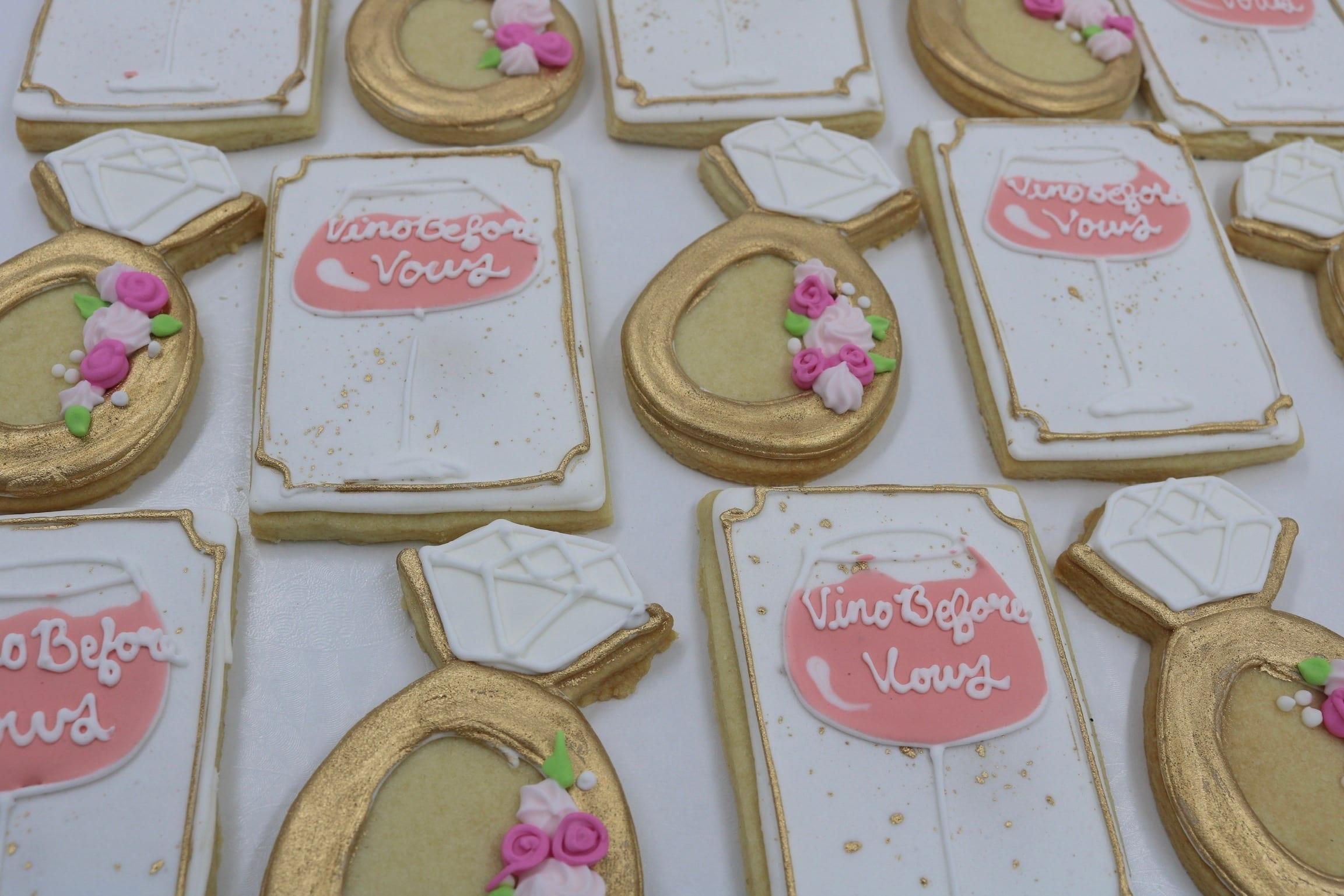 Vino Before Vows Cookies | 3 Sweet Girls Cakery