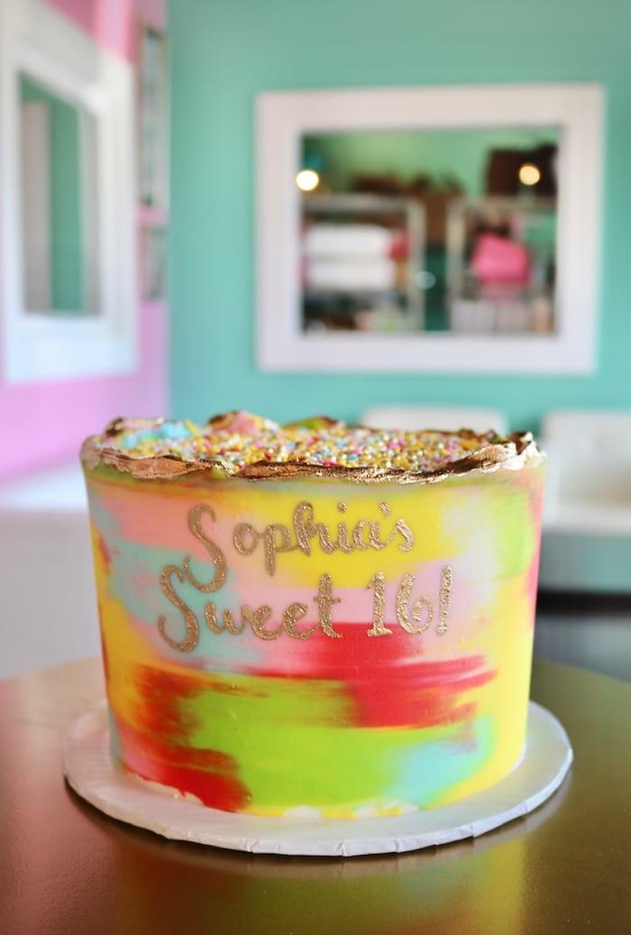 Watercolor Sweet Sixteen Cake | 3 Sweet Girls Cakery