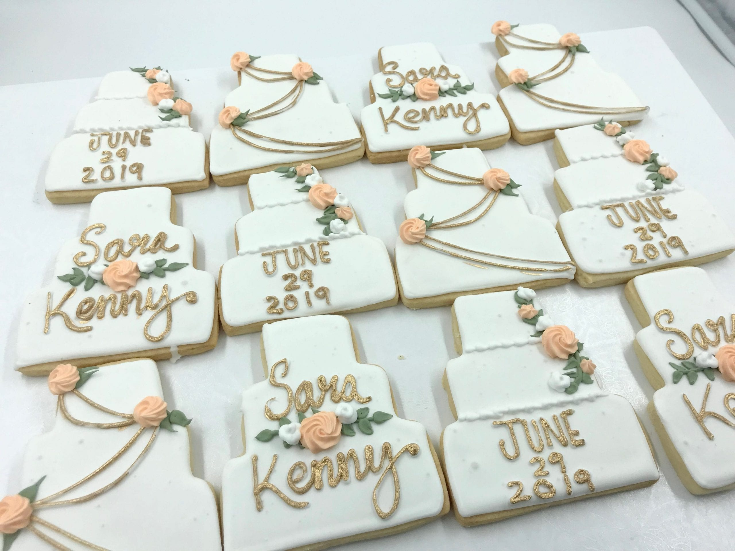 Wedding Cake Cookies with Gold and Peach | 3 Sweet Girls Cakery