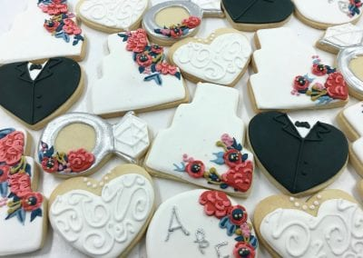 Wedding Cake, Rings and HEart Cookies | 3 Sweet Girls Cakery