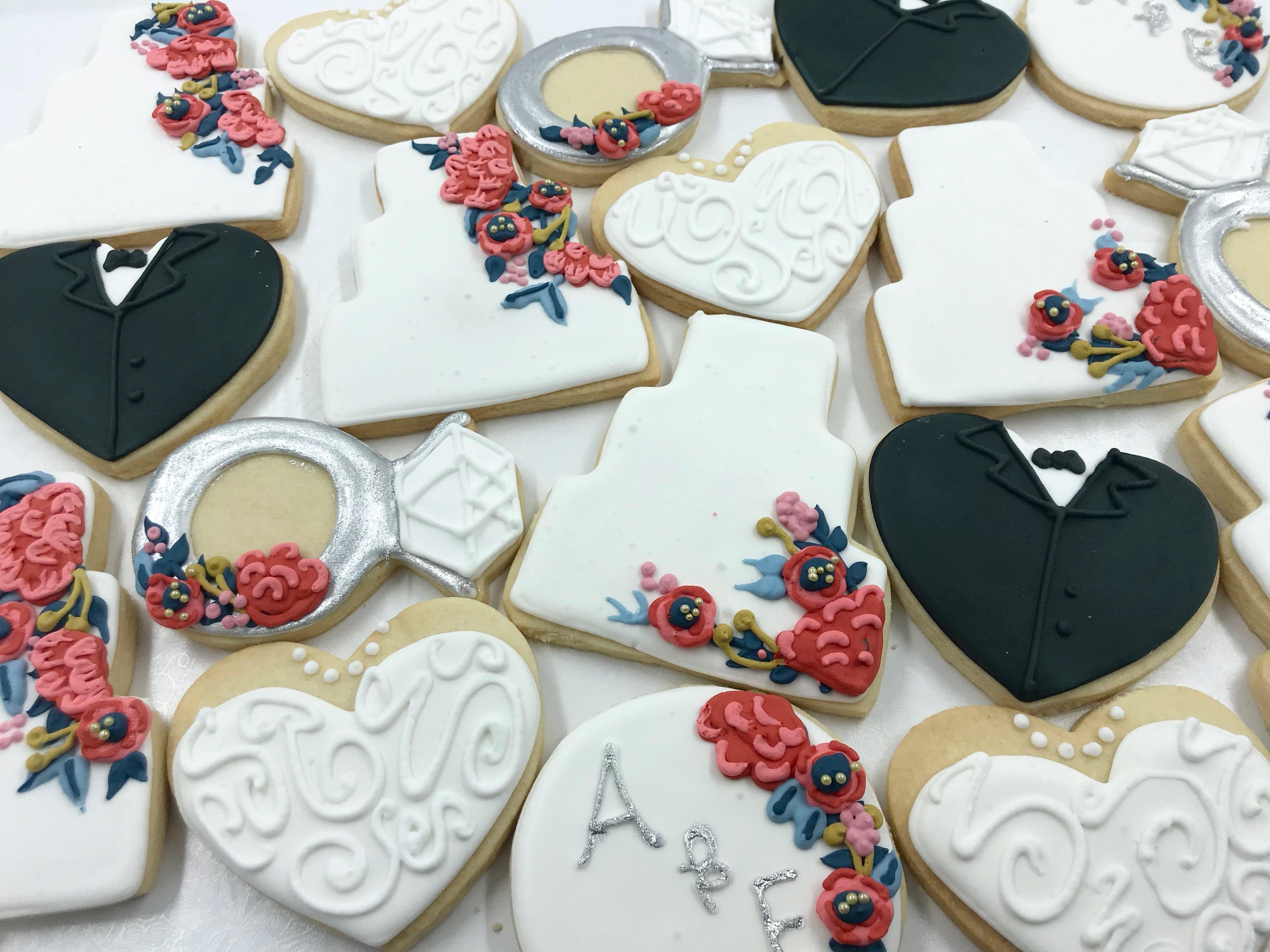 Wedding Cake, Rings and HEart Cookies | 3 Sweet Girls Cakery