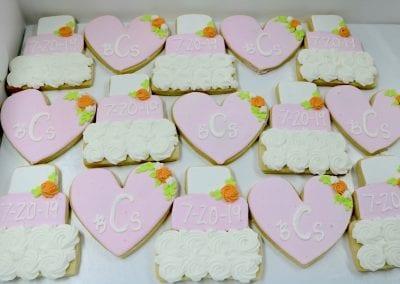 Wedding Shower Cookies Blush, White and Orange | 3 Sweet Girls Cakery