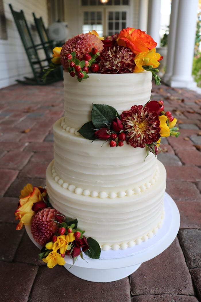 Wedding Cake with Dahlias at The Manor House | 3 Sweet Girls Cakery