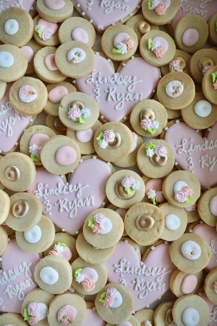 Wedding Cookies Blush and White   3 Sweet Girls Cakery