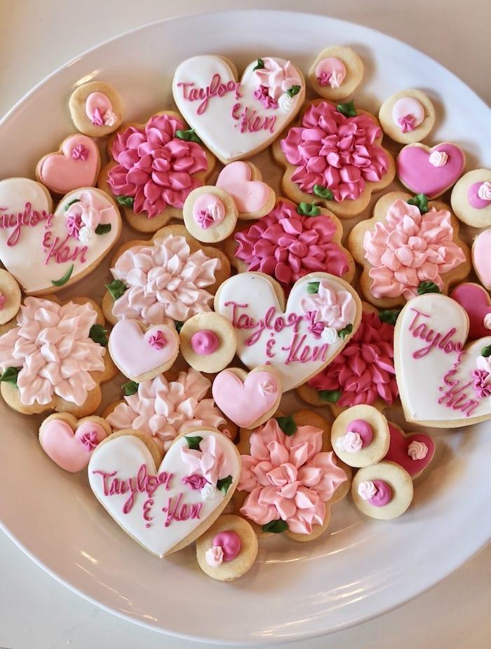 Wedding Cookies in Shades of Pink | 3 Sweet Girls Cakery