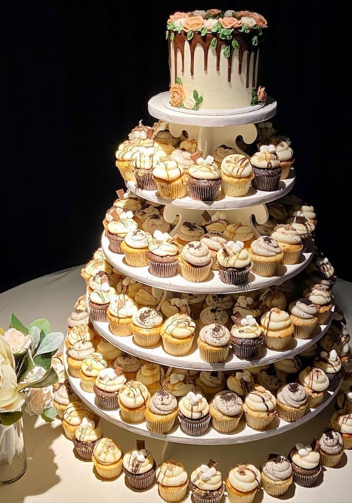 Wedding Cupcake Tower with Drip Cake | 3 Sweet Girls Cakery