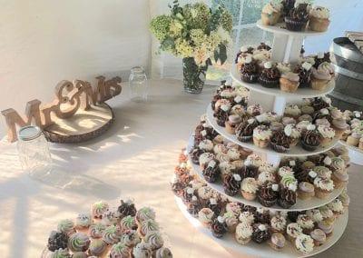 Wedding Cupcake Tower with Mini Cupcakes   3 Sweet Girls Cakery