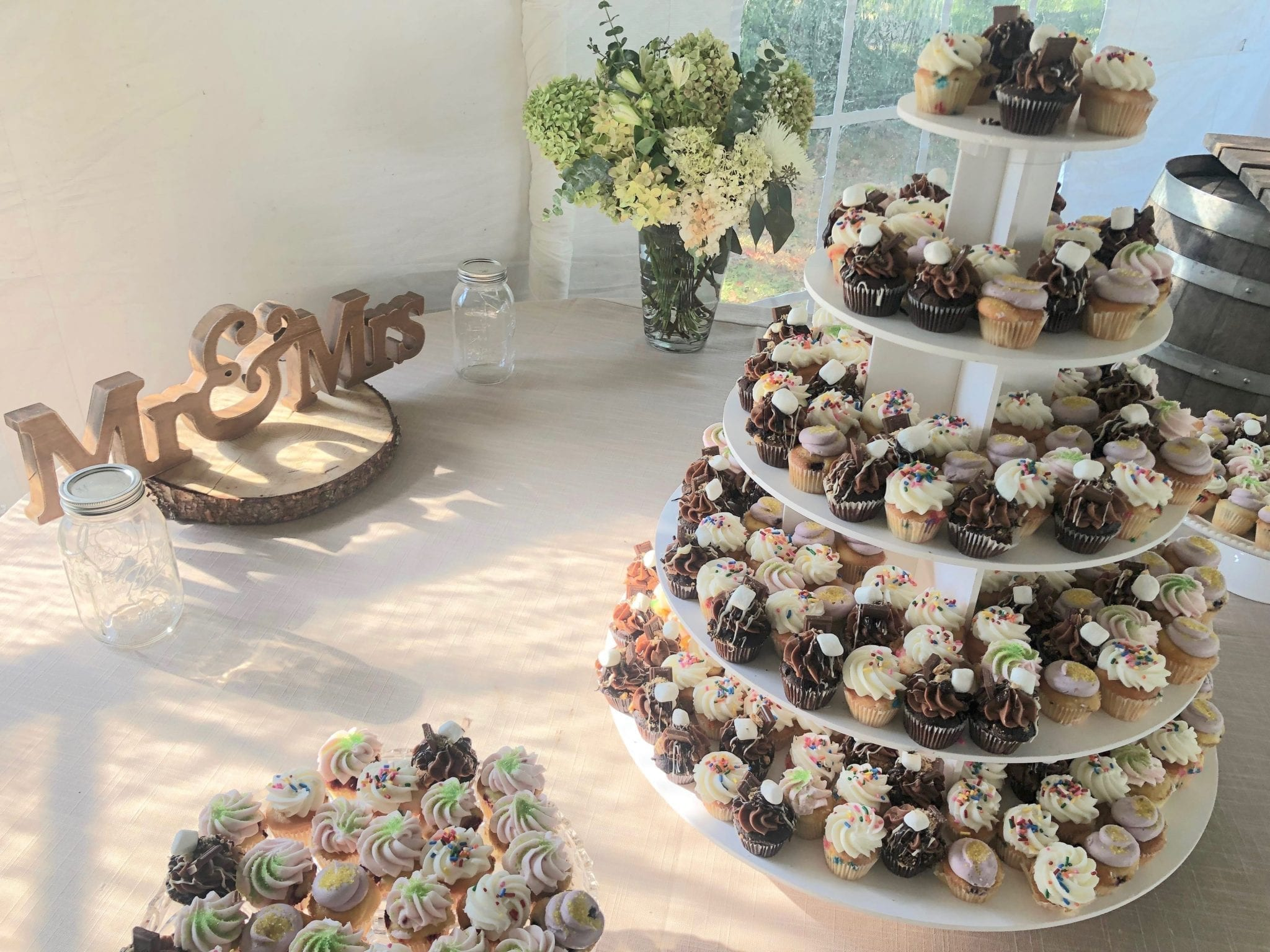Wedding Cupcake Tower with Mini Cupcakes | 3 Sweet Girls Cakery