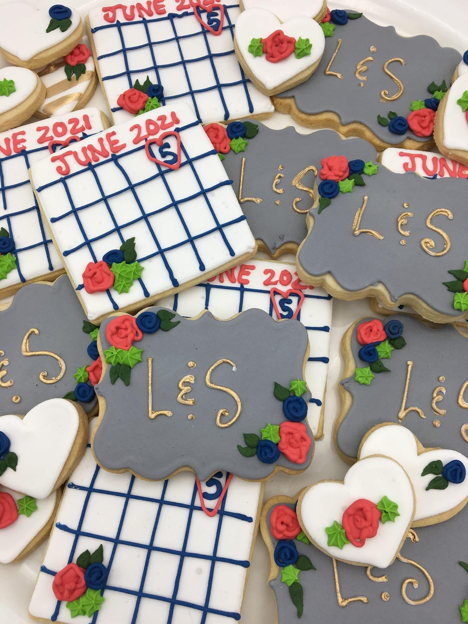 Wedding Date Calender Cookies and Monogram Cookies | 3 Sweet Girls Cakery