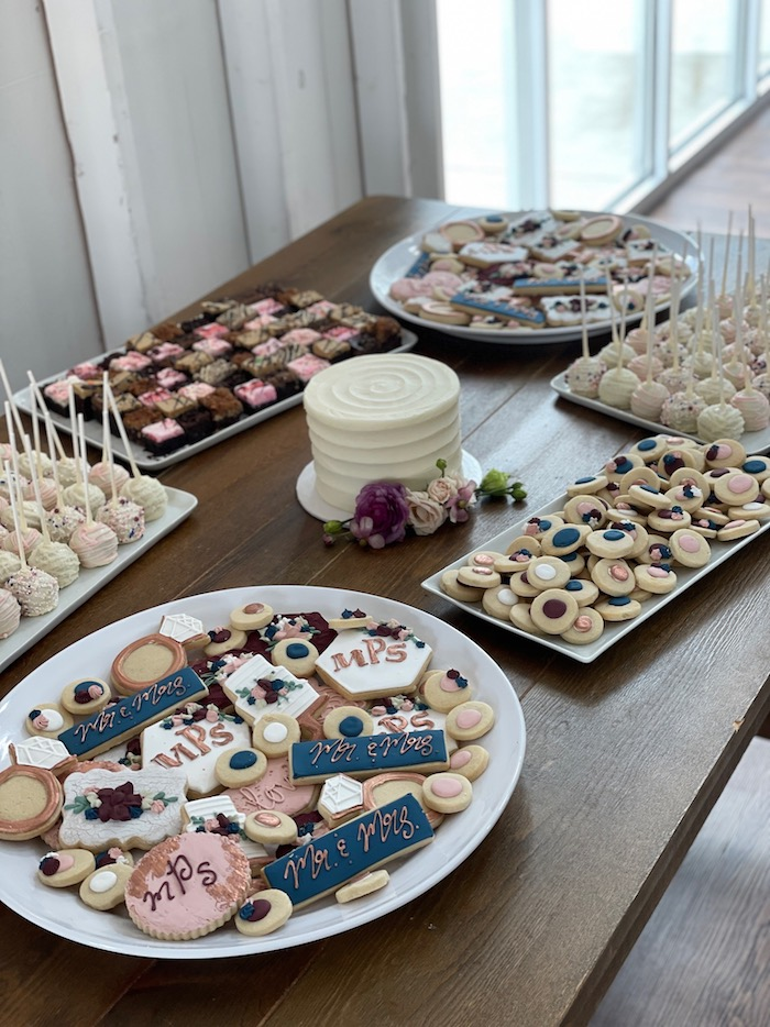 Wedding Dessert Table Navy, Blush and Rose Gold | 3 Sweet Girls Cakery