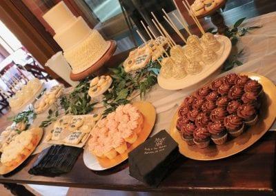 Wedding Dessert Table at Backstage Event Center   3 Sweet Girls Cakery