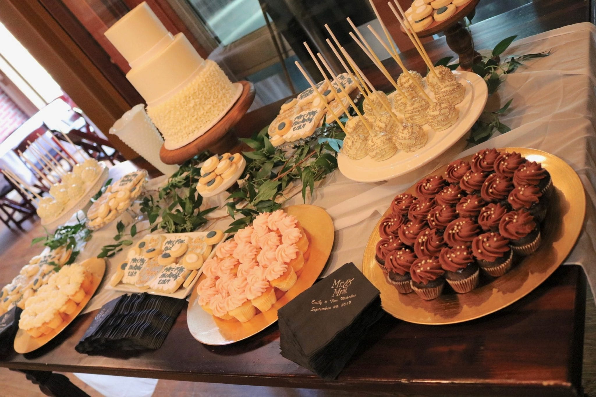 Wedding Dessert Table at Backstage Event Center | 3 Sweet Girls Cakery