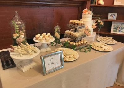 Wedding Dessert Table at Krippendorf Lodge   3 Sweet Girls Cakery
