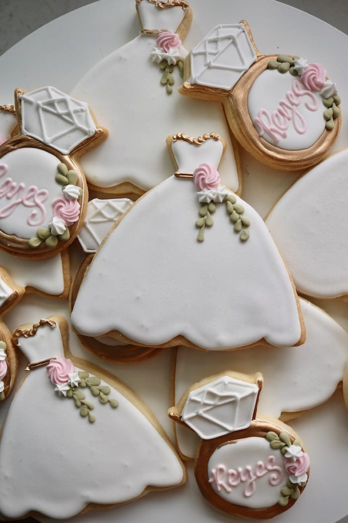 Wedding Dress and Ring Cookies | 3 Sweet Girls Cakery