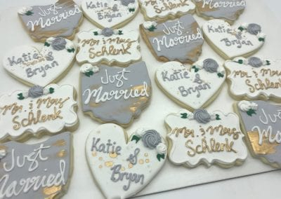 Wedding Favor Cookies Grey, White and Gold | 3 Sweet Girls Cakery