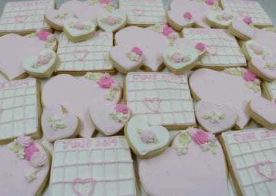 Blush Wedding Calendar and Heart Cookies | 3 Sweet Girls Cakery