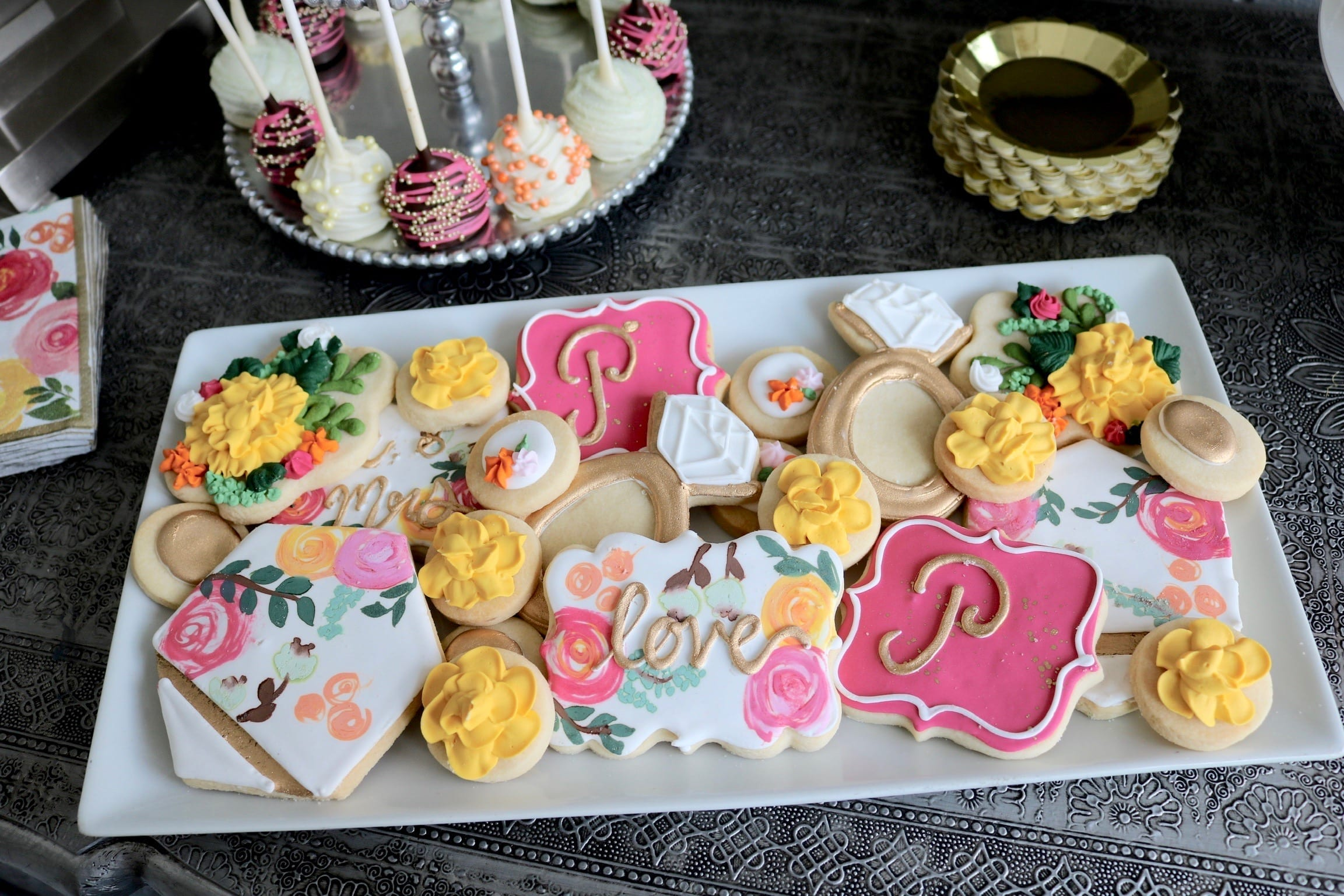 Wedding Shower Cookies and Cake Pops | 3 Sweet Girls Cakery
