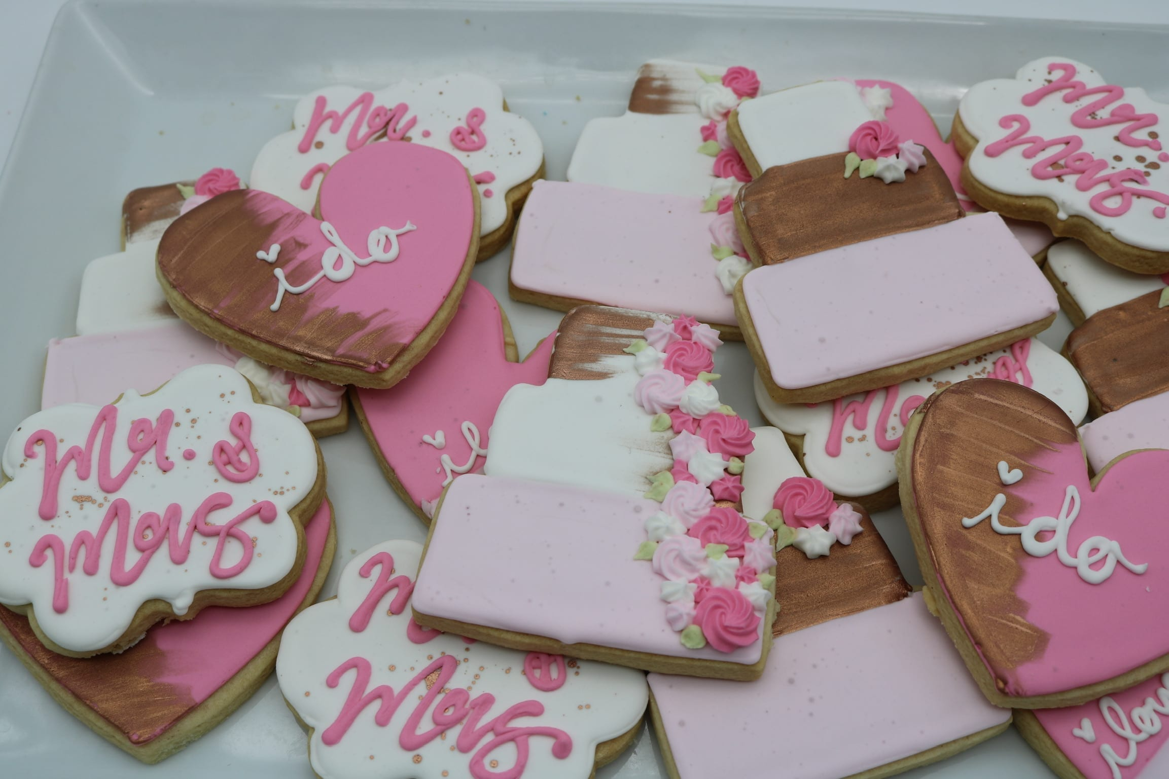 Wedding Shower Cookies with Pink, Blush and Rose Gold | 3 Sweet Girls Cakery